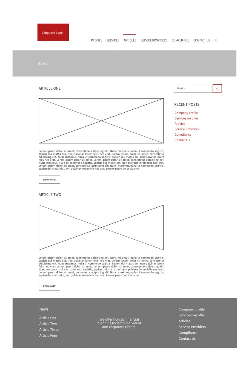 Vanguard Financial Group - Wireframes